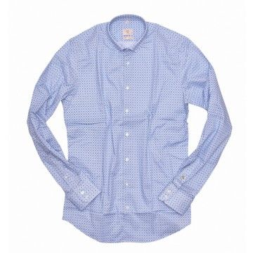 Q1 - Herren Hemd - Button-Down - Blau/Weiß