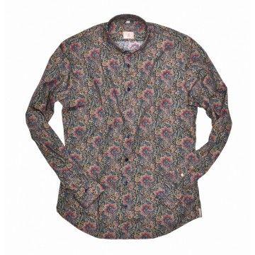 Q1 - Herren Hemd - Button-Down Paisley - blau/rot