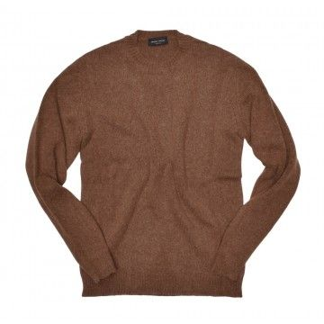 ROBERTO COLLINA - Herren Sweater - Roundneck Sweater - Tabacco
