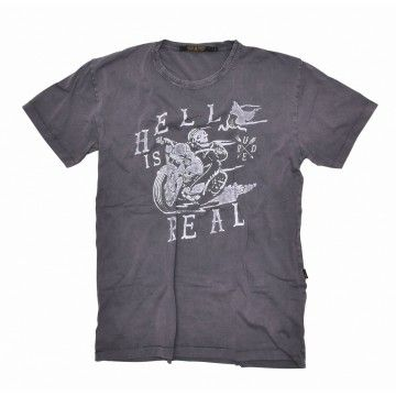 RUDE RIDERS - Herren T-Shirt - Hell is Real - light grey washed -