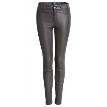 SET - Damen Lederhose - Dakota Skinny Leather Trousers - Dark Khaki