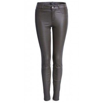 SET - Damen Lederhose - Dakota Skinny Leather Trousers - Khaki