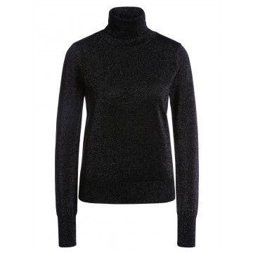SET - Damen Pullover - Rollkragen Longsleeve - Black/Grey