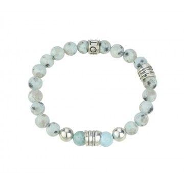 SHOTO STERLING - Armband - Larimar, blauer Granit, Silber Beads
