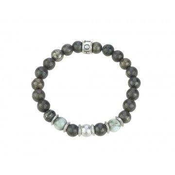 SHOTO STERLING - Armband - Meteorit, Katzenauge, Pyrit, silber