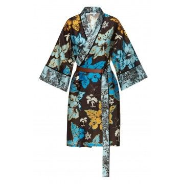 BEATRICE.B - Damen Kimono - Seidenkimono mit floralem Muster - Brown