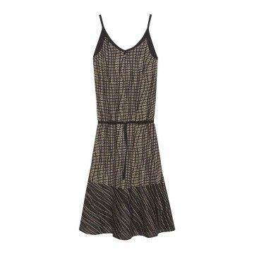 OTTOD´AME - Damen Kleid - Langes Kleid mit Volant - Schwarz/Camel