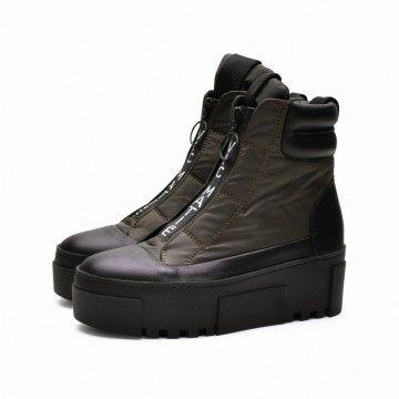 VIC MATIÉ - Damen Schuhe - Nylon Stiefelette mit Leder - Black / Military Green
