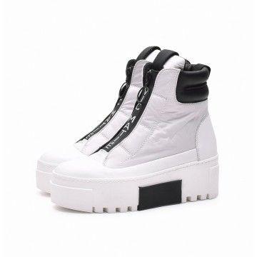 VIC MATIÉ - Damen Schuhe - Nylon Stiefelette mit Leder - Black / White
