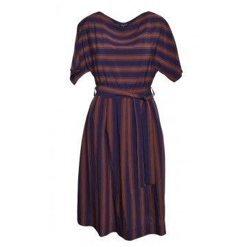 WOOLRICH - Damen Kleid - stripe Dress - farmer blue