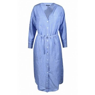 WOOLRICH - Kleid - Flamed Dress - Oxford Blue Stripes