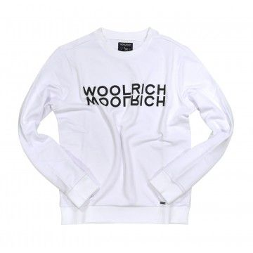 WOOLRICH - Herren Pullover - Luxury Logo Crew Neck - Optic White